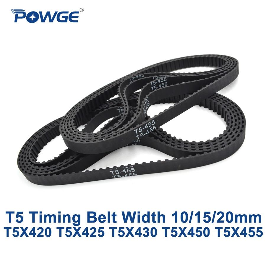 POWGE T5 Synchronous timing belt C=420/425/430/450/455 Width 10/15/20mm Teeth 84 85 86 90 91 Rubber T5X420 T5X430 T5X450 T5X455