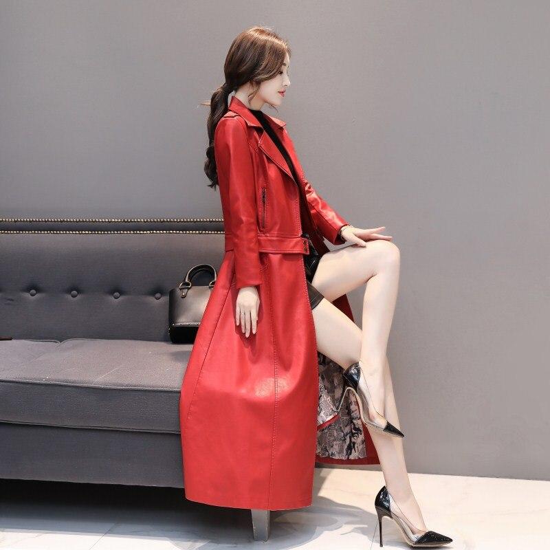 leather jacket women Rex fur collar  black red coat Two coats Waist separate Long cotton Windbreaker plus Size M-4XL K811 enlarge