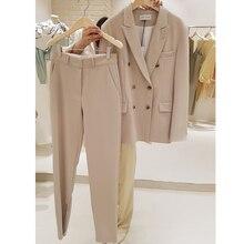 Mode costume femme 2020 printemps nouveau Long paragraphe costume veste Harem pantalon deux ensembles de tempérament décontracté femmes vêtements