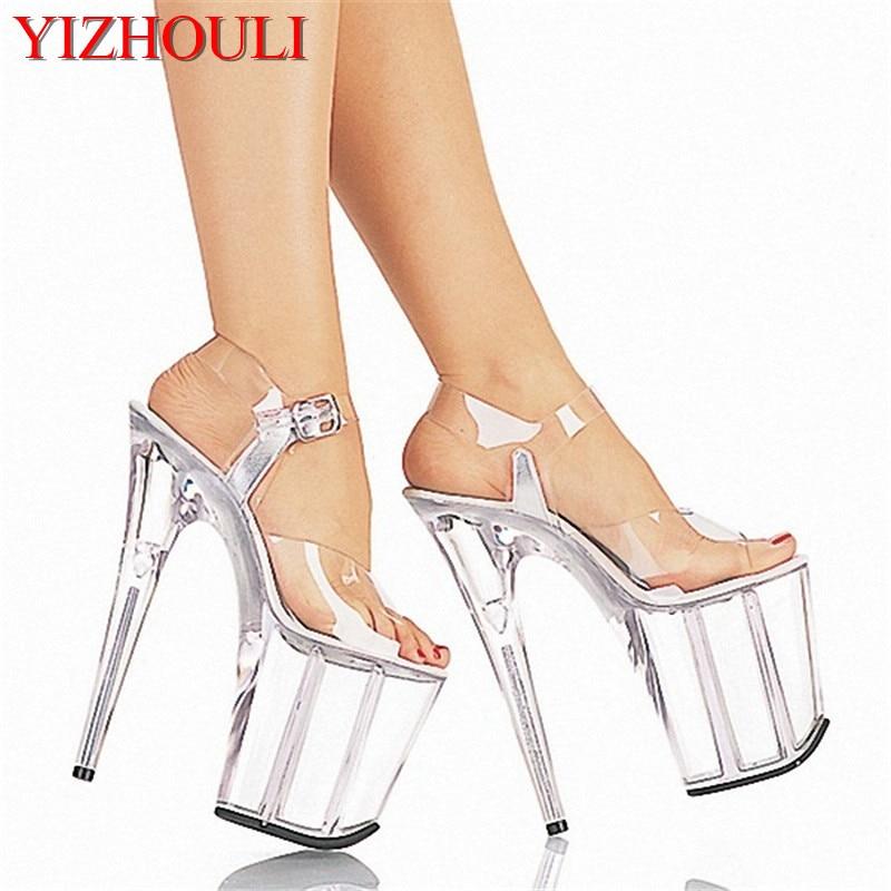 أحذية رقص القطب ، أحذية زفاف شفافة بالكامل ، 8 بوصة ، كعب عالي 20 سنتيمتر ، عرض ، نجمة ، موديل ، صنادل مسرح