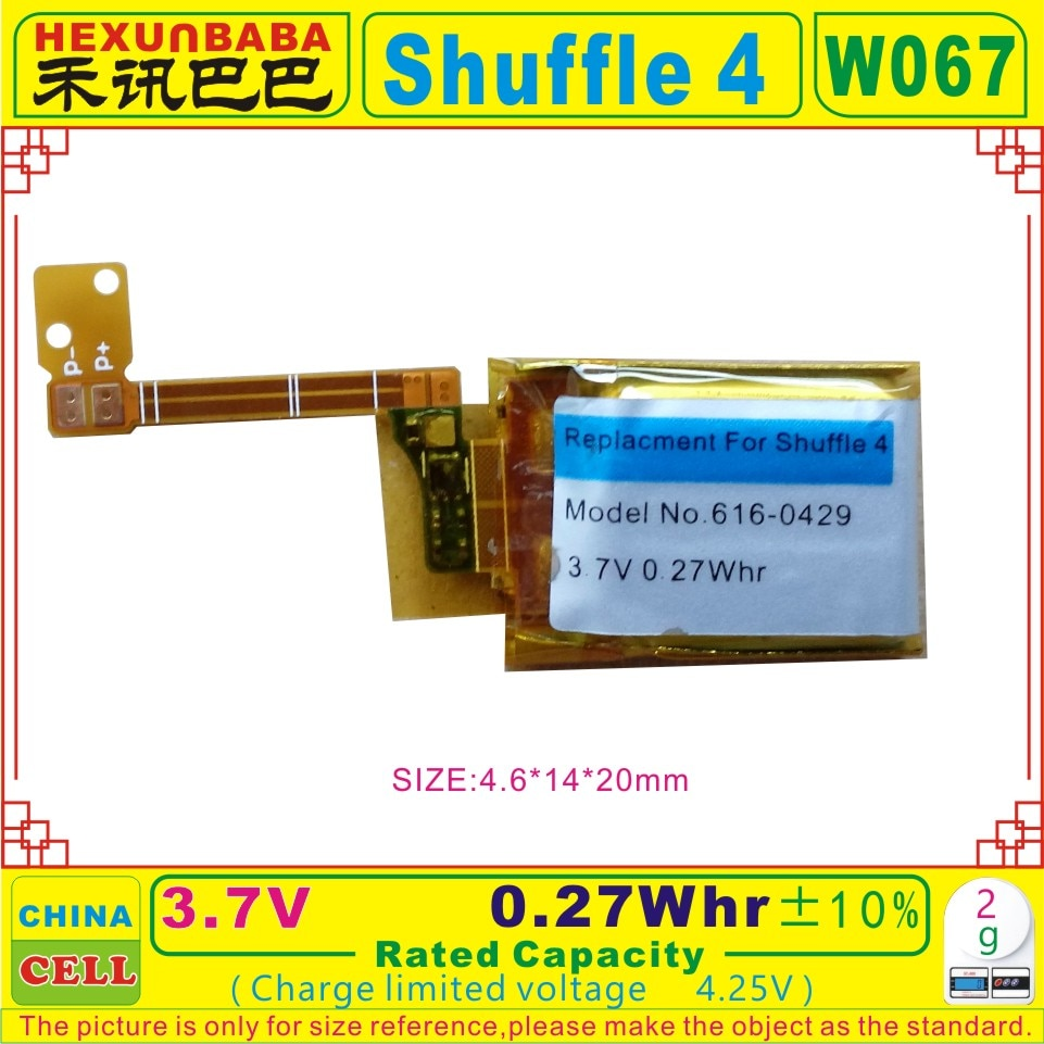 [Shu-ffle 3] 3,7 V 4,25 V 0.27Whr batería de polímero Li-ion apta para IPOD shu-ffle 3;616-0429 [W067]