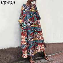 2020 Autumn VONDA Fashion Women Maxi Dress Sexy O Neck Short Sleeve Summer Dress Female Beach Party Long Robe Plus Size Vestidos