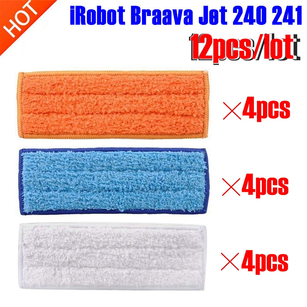 12 pcs/lot robot cleaner brushes spare parts 4pcs Wet Pad Mop +4pcsDamp Pad Mop + 4pcs Dry Pad Mop for iRobot Braava Jet 240 241