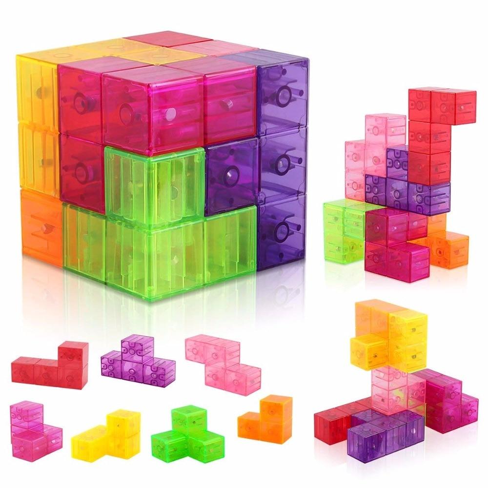 3x3 bloques de construcción de cubo magnético 3D teja magnética 7 Uds juego de rompecabezas Cubo de velocidad 3x3x3 con 54 Uds tarjetas de guía de inteligencia