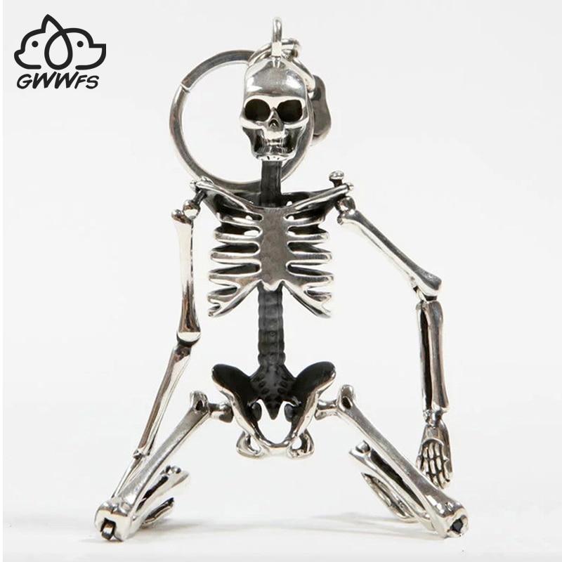 Складной скелет кулон брелок для мужчин и женщин античный серебряный цвет металлический сплав череп сумка Шарм брелок для автомобиля брелок