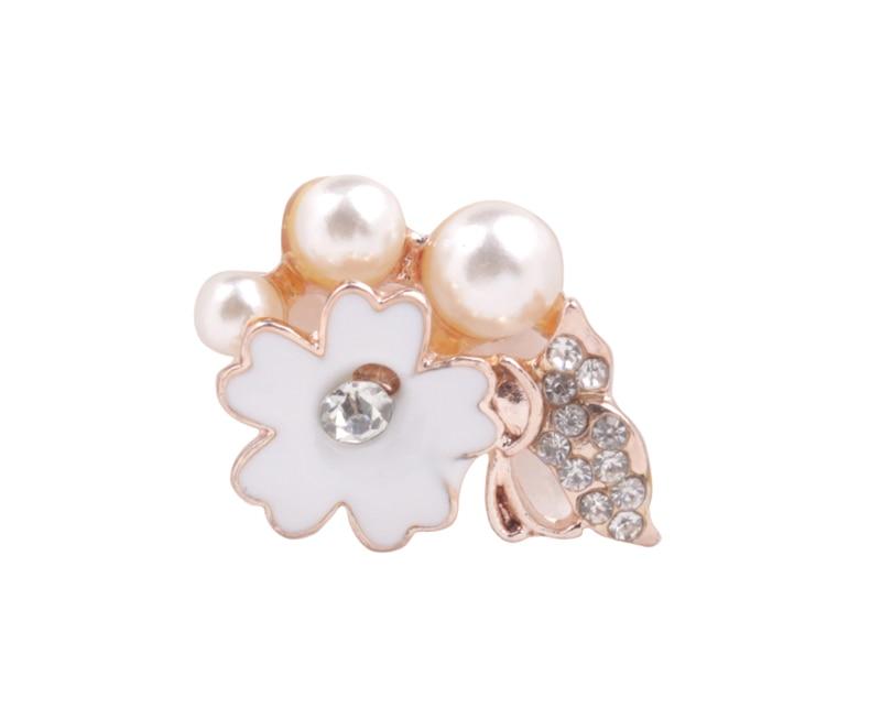 Envío Gratis 30 Uds. Cabujón plano de la rama de la perla de la flor del esmalte para la decoración del teléfono #92151