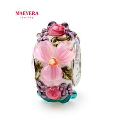 Maeyera jóias real s925 núcleo tricolor flor estéreo pétalas murano contas de vidro caber charme europeu jóias 920347