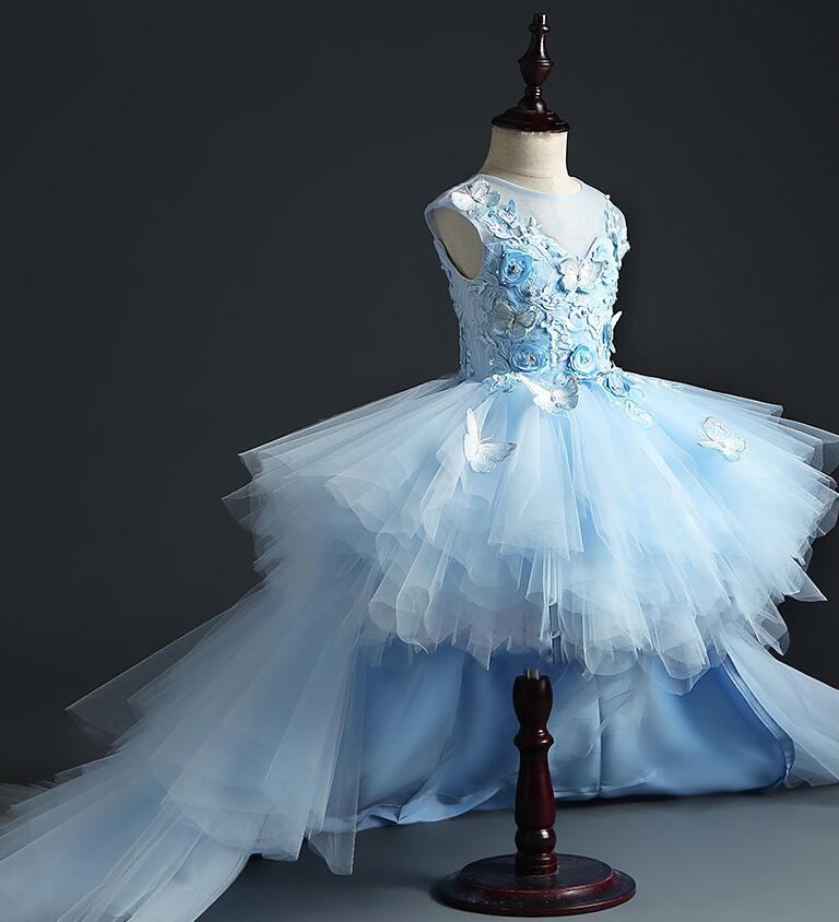 Vestido de desfile de tul azul de cola larga para niñas, vestido de flores para niñas, vestido para boda Floral para niña, vestidos de primera comunión para fiesta de princesa
