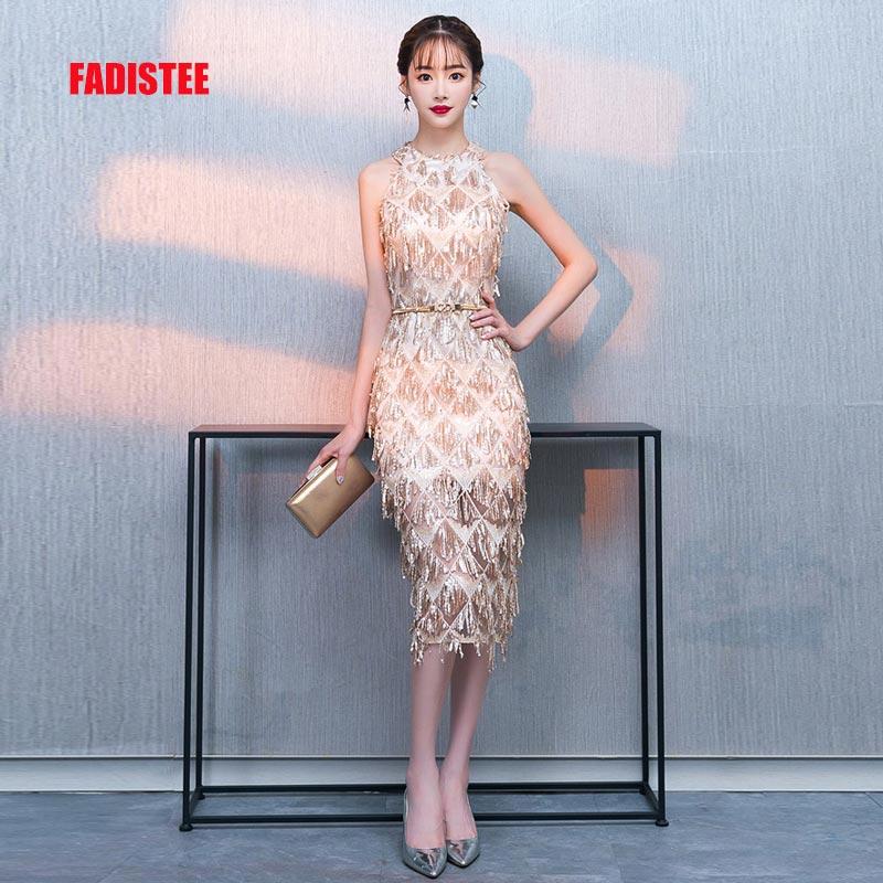 FADISTEE New arrival party dress evening dress Vestido de Festa halter sexy back frock prom short gown 2019 style
