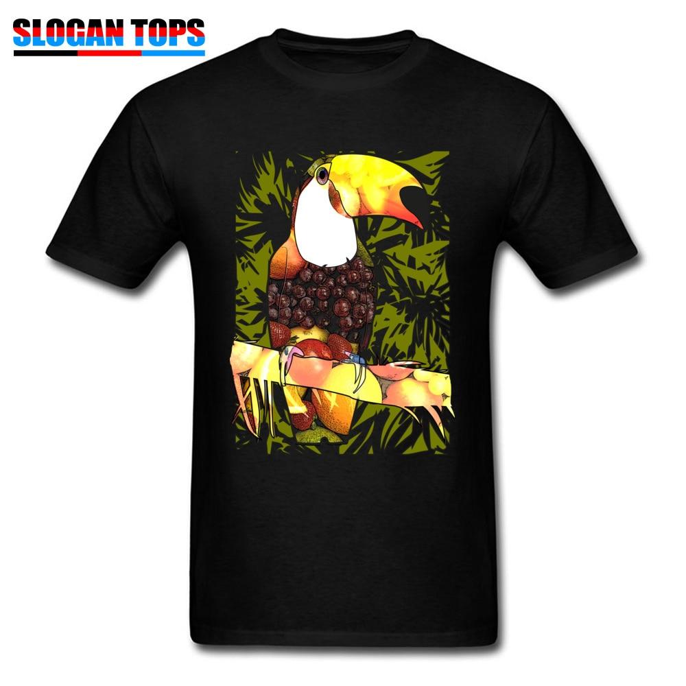 Camiseta negra para hombre, camisetas para vacaciones, camiseta Tropic con decoración de aves y frutas con forma de comida, Camiseta de algodón con estilo veraniego vibrante, camiseta única