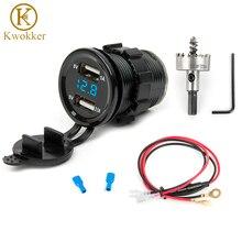 12 В Автомобильный Электронный адаптер для автомобильного зарядного устройства с двумя usb-портами, разъем для прикуривателя + светодиодный цифровой вольтметр + 30 мм HSS сверлильная пила