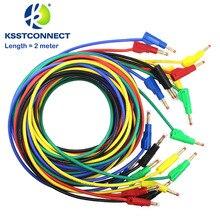 TL470G Lengte = 2.0 Meter Hoge Kwaliteit 13AWG2.5seq Mm Flexibele Siliconen Meetkabels 4 Mm Mannelijke Intrekbare Plug Stapelbaar Leads
