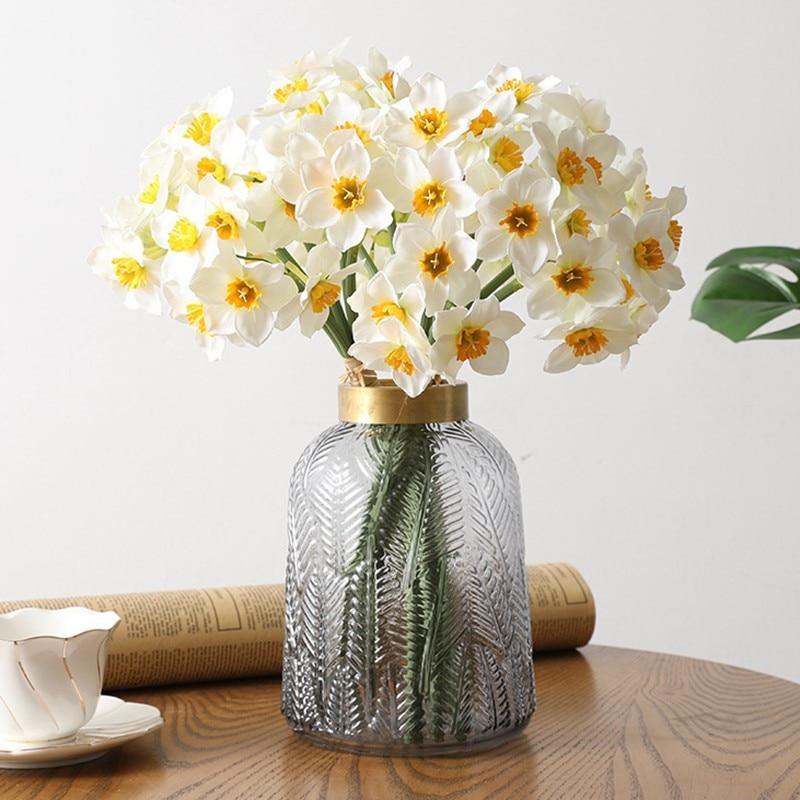 6 piezas/lote de seda Artificial de seda artificial Narciso flor planta de tallo mesa de casa decoración de fiesta de boda
