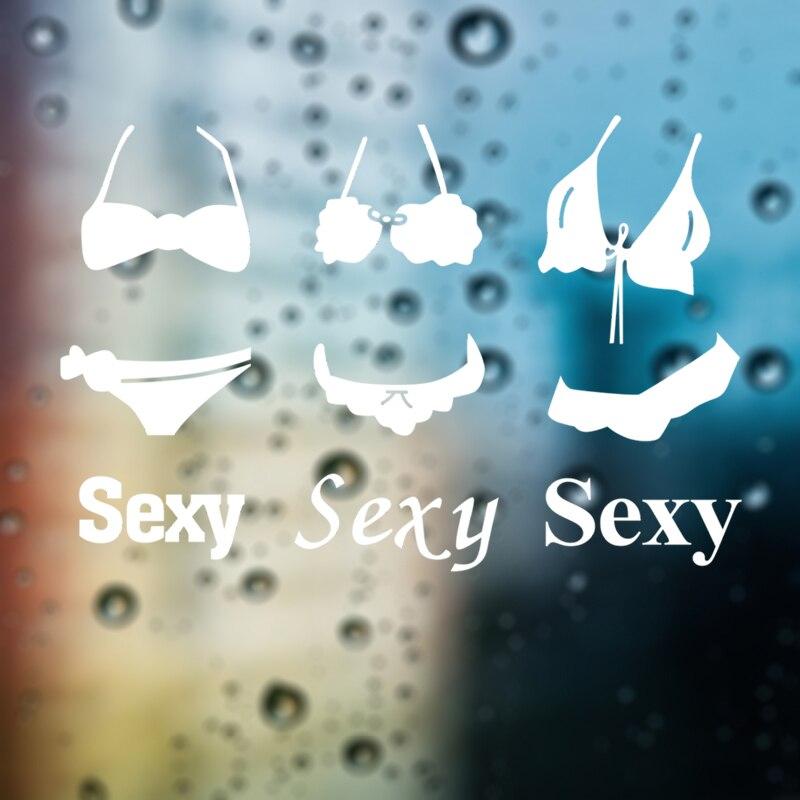 DCTAL Bikini ropa interior sujetador ropa etiqueta para tienda Sexy Lady Girls pegatina de pared para vidrio etiqueta para tienda Cloakroom decoración de escaparate