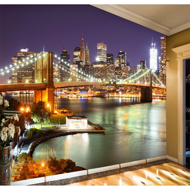 naked new york paper beibehang  paper New York City Night living room bedroom wallpaper mural large backdrop personalized wallpaper papel de parede
