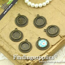 Diy necklace pendant antique silver 12mm vintage alloy pendant trays time gem trays