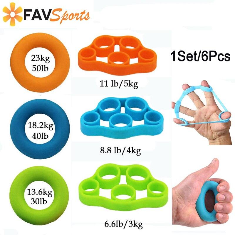6 unids/set agarre de dedo caliente mano fortalecedor silicona deporte muñeca ejercicios de entrenamiento agarre fuerza anillo entrenador Fitness Equipme