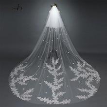 SoDigne 3 mètres cathédrale voiles dentelle bord belle mariée voiles Tulle cathédrale mariage voiles Veu de Noiva 20178