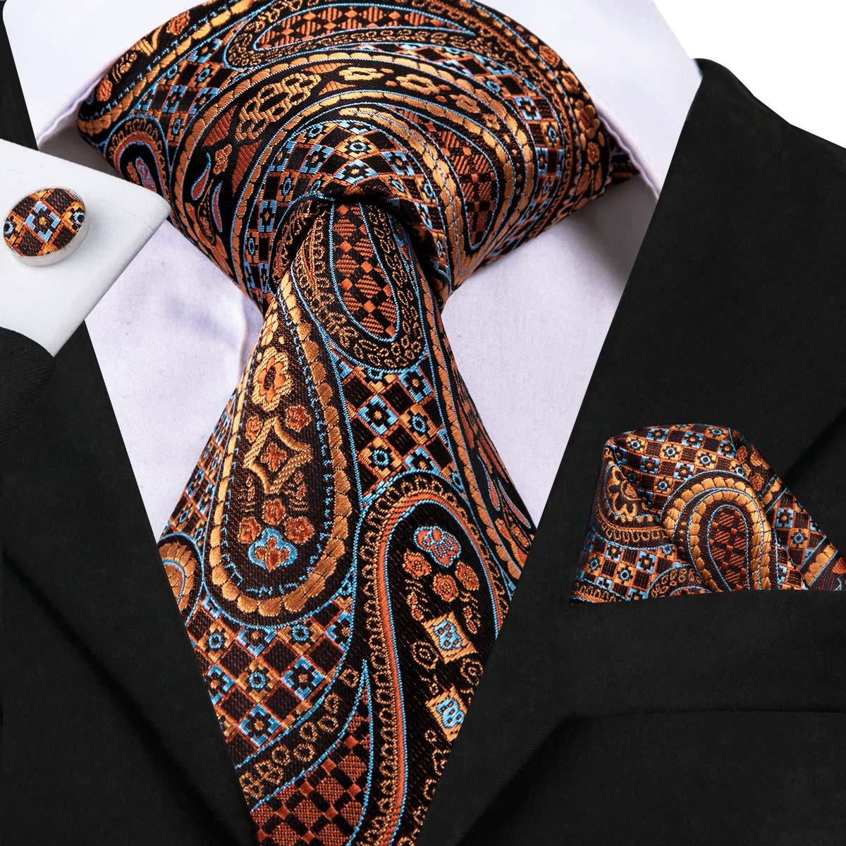 Corbatas masculinas de alta calidad de marca famosa Hi-Tie, estilo de negocios, corbata de patrón Paisley, juego de gemelos y pañuelo para SN-3078 de fiesta de boda
