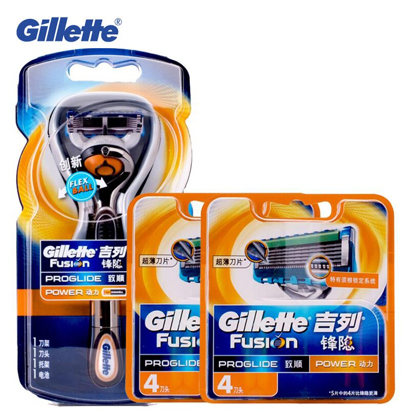 Genuine gillette men lâminas de segurança fusion flexball power 1 titular + 9 lâminas barbear lâminas barbear elétrico