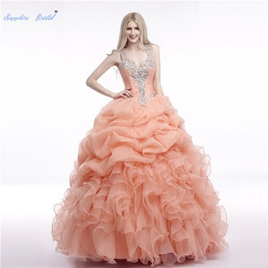 Sapphire Bridal Pleated Ruffles Long Party Gowns Vestidos Quinceanera Sweet 16 Dress Ball Gown Sparkly Beading Quinceanera Dress