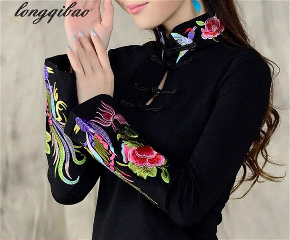 Señoras del viento chino 2019 Primavera de gran tamaño bordado nacional viento bordado camiseta femenina de manga larga TB02
