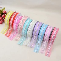 hot new fashion embroidered lace ribbon fabric width for 2 5cm print ribbon clothing cutlery fashion elastic polyester webbing