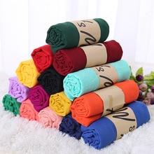 Однотонный шарф из хлопка и льна карамельных цветов, женский шарф в подарок, красивые шарфы