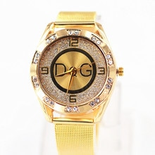 Zegarki Damskie marques de luxe DQG femmes cristal argent acier inoxydable montre à Quartz dame montre de Sport en plein air offre spéciale Montres