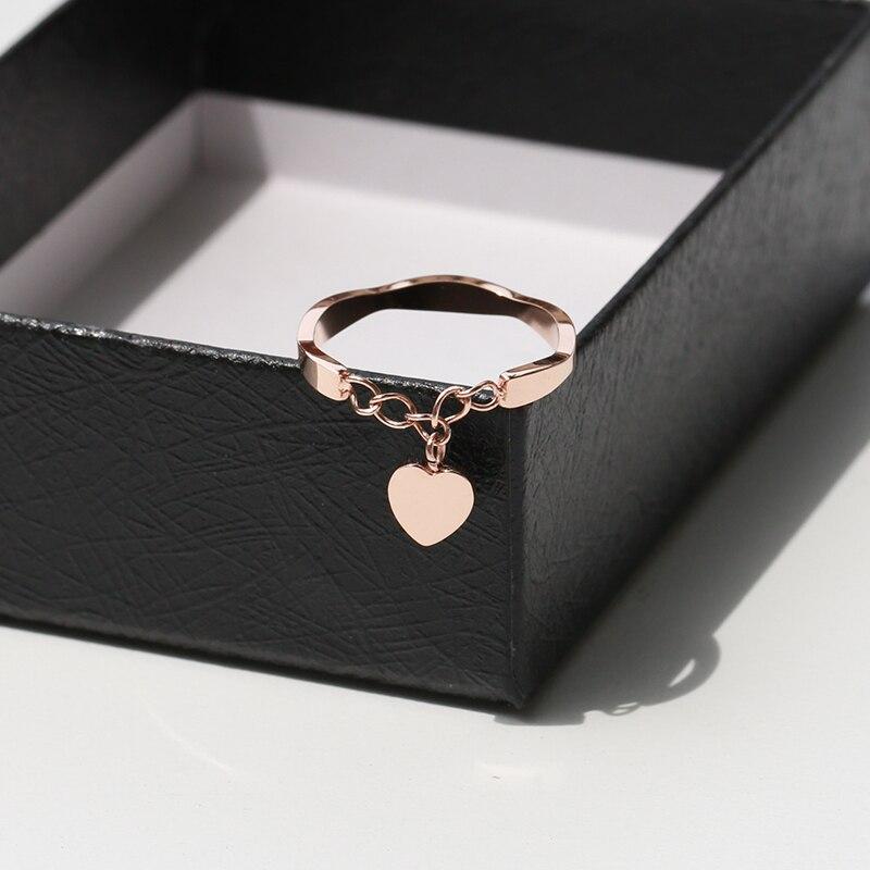 YUN RUO nueva llegada INS corazón colgante anillo Color oro rosa moda titanio acero joyería boda cumpleaños regalo mujer nunca se desvanece