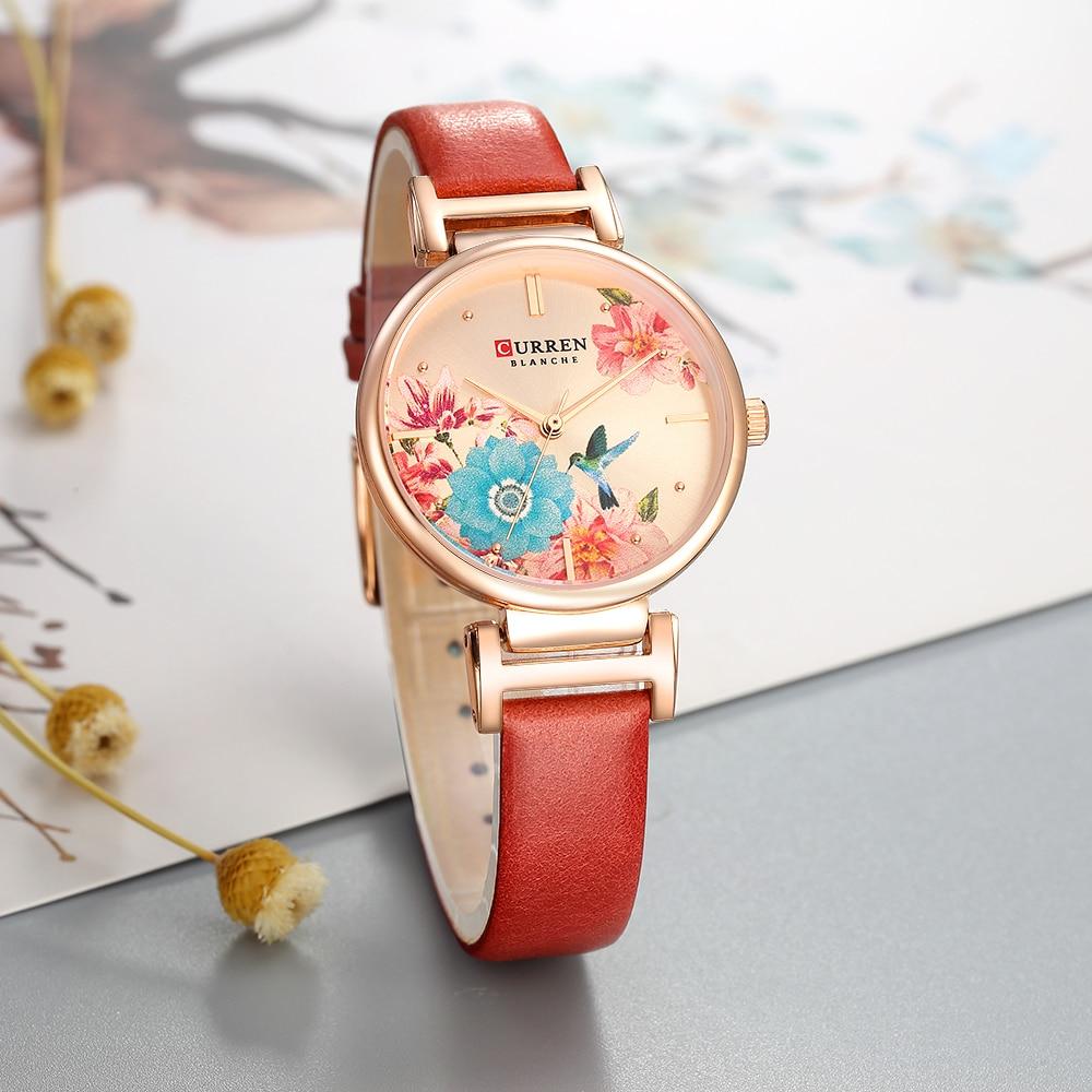 CURREN Women Watch Flower Bird Simple Style Quartz Lady Rose Gold Waterproof Leather Wristwatch Female Watches Clock reloj mujer enlarge