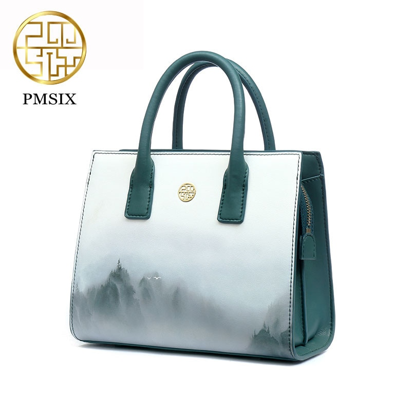 Pmsix 2020  Ink style Printing Cow Leather Women Handbags Elegant Shoulder Bag Luxury Designer Totes Bags P220050