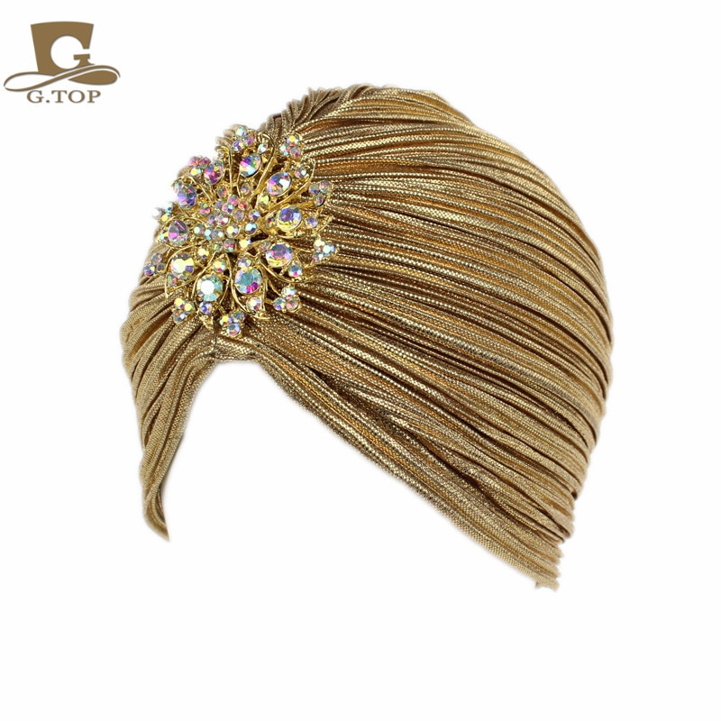 Nueva de moda señoras Diamante, oro y plata joya sombreros de Turbante para las mujeres pañuelo de quimio Hijab falda indio gorra Turbante sombrero