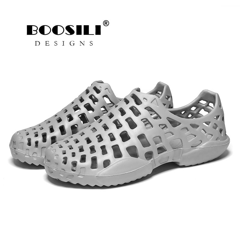 Men Sandals Real 2020 Mens Leather Sandal Male And Female Same Style Garden High Quality Breathable Clogs Lightweight 4 Colours