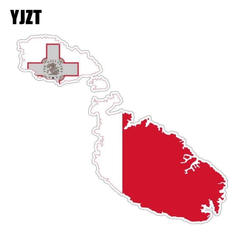 Yjzt 15 cm * 4.9 cm engraçado malta bandeira carro adesivo mapa decalque acessórios do carro 6-1212