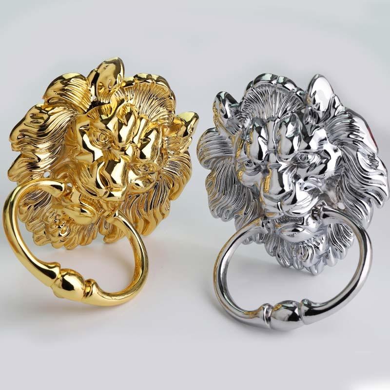160mm estilo retro brilhante cromo maior leão cabeça gota anéis de madeira puxador da porta puxador de prata ouro cadeira de madeira sofá lidar com botão