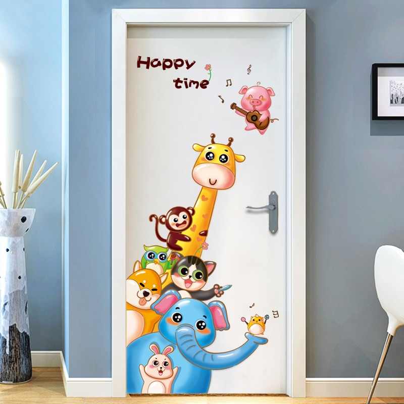 Pegatinas de puerta adorable caricatura animé animal niños sala de estar decoración creativa autoadhesivo pegatinas de pared