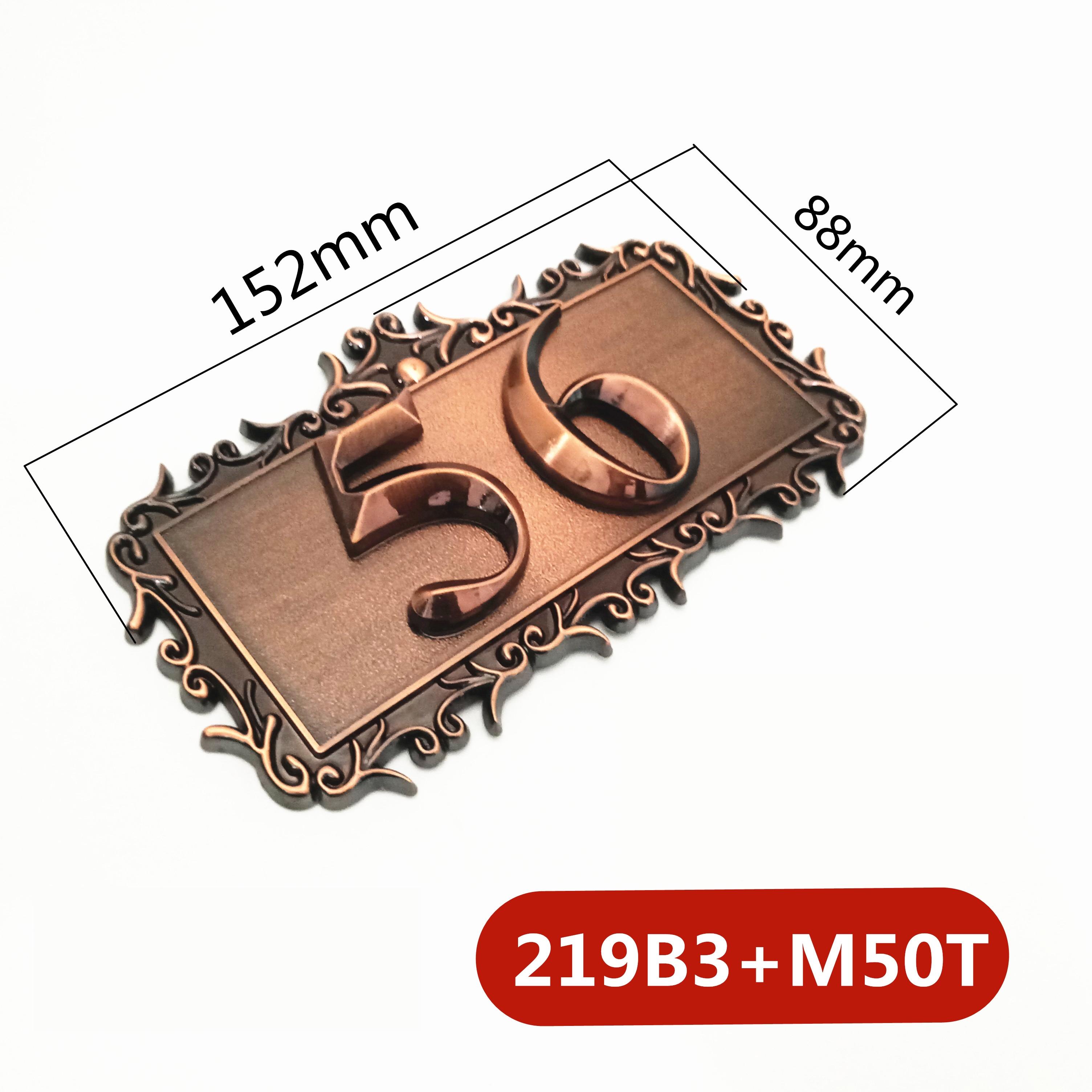 Two Digits ABS Plastic Imitation Metal Bronze House Number Custom Sign Door Number Sticker For Hotel Apartment Door Plate