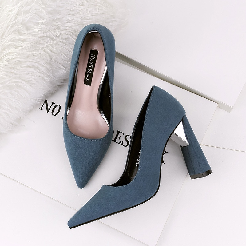 6cm high heel classic sexy pointed toe heels women pumps shoes flock spring brand wedding pump green blue red yellow smybk 017 Pumps Women Shoes Red Flock Slip-On Shallow Wedding Party Pointed Toe Square heel 10CM High Heels Pump Chaussures Femme