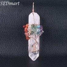 SEDmart cristal blanc naturel grand pendentif Reiki Chakra arbre de vie couleur or Rose à la main fil enroulé pendentif pour collier