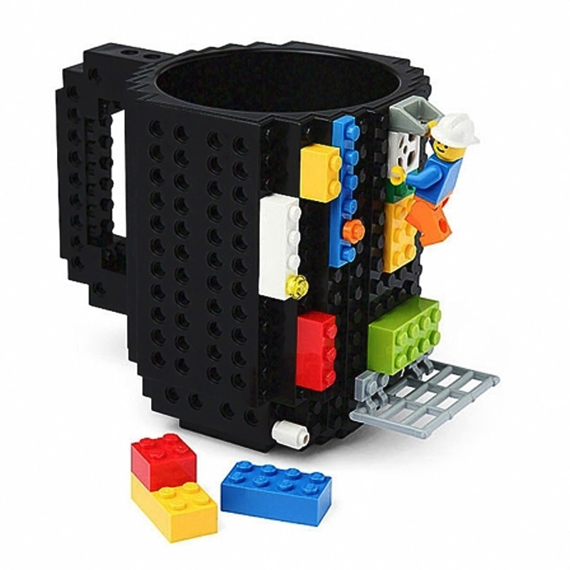 Build-On Brick lego Mug DIY Bulding Blocks Coffee Mugs 350 ml Creative Drinkware BPA Free mug Birthday Gifts Tazas