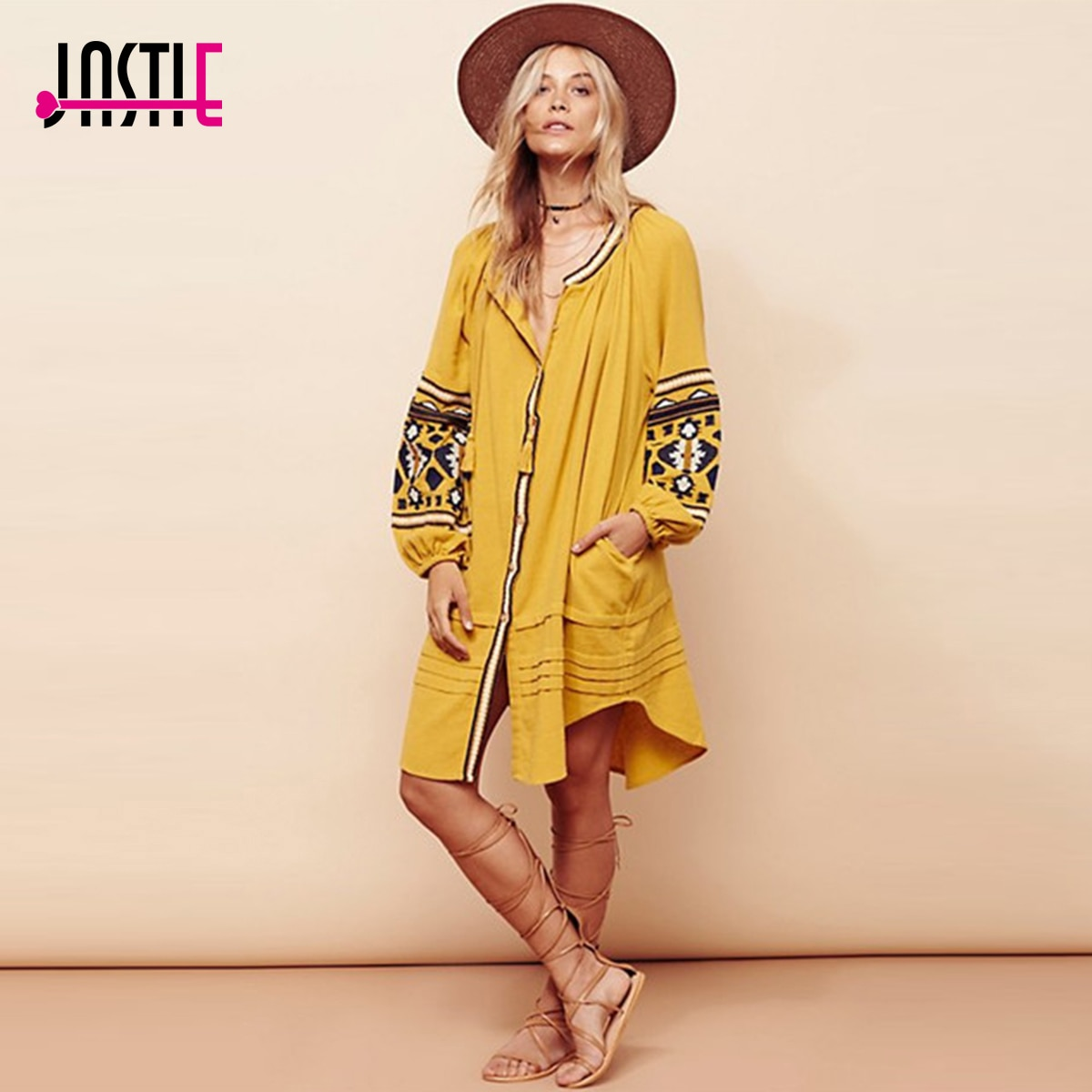 Jastie فستان بوهو مطرز عتيق فساتين نسائية كبيرة الحجم بأكمام واسعة فستان شاطئ قصير أنيق غير رسمي فيستيدوس