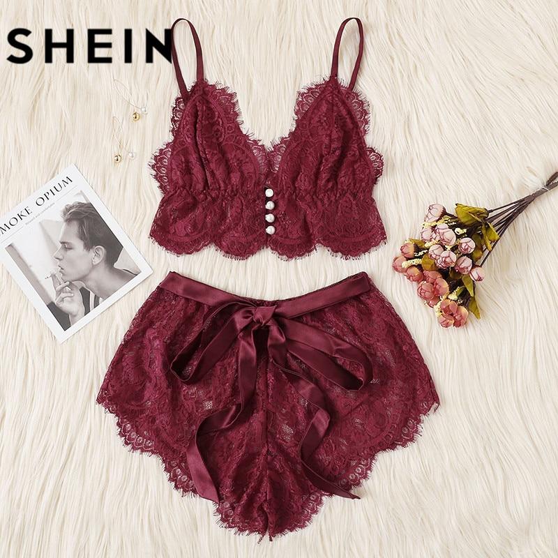 SHEIN Sexy Women Sleeping Clothes Sleeveless sexy for sleeps Pajamas For Women V Neck Lace Trim Satin Cami and Shorts Pajama Set