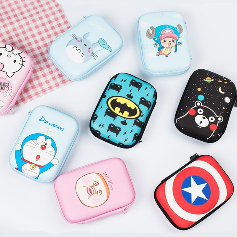 Storage Case for Headphone Cute Marvel Cartoon Anime Earphone USB Cable Organizer Bag Portable Travel Zipper Lock Storage Bags
