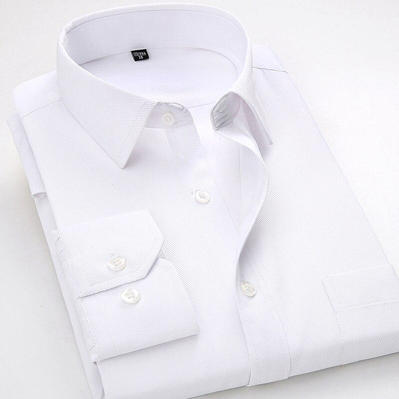 ¡Nuevo estilo 2018! camisas para hombre de manga larga informal de sarga sólida, Camisa de vestir blanca para hombre, Camisa Formal de oficina para hombre, Camisa masculina 4xl