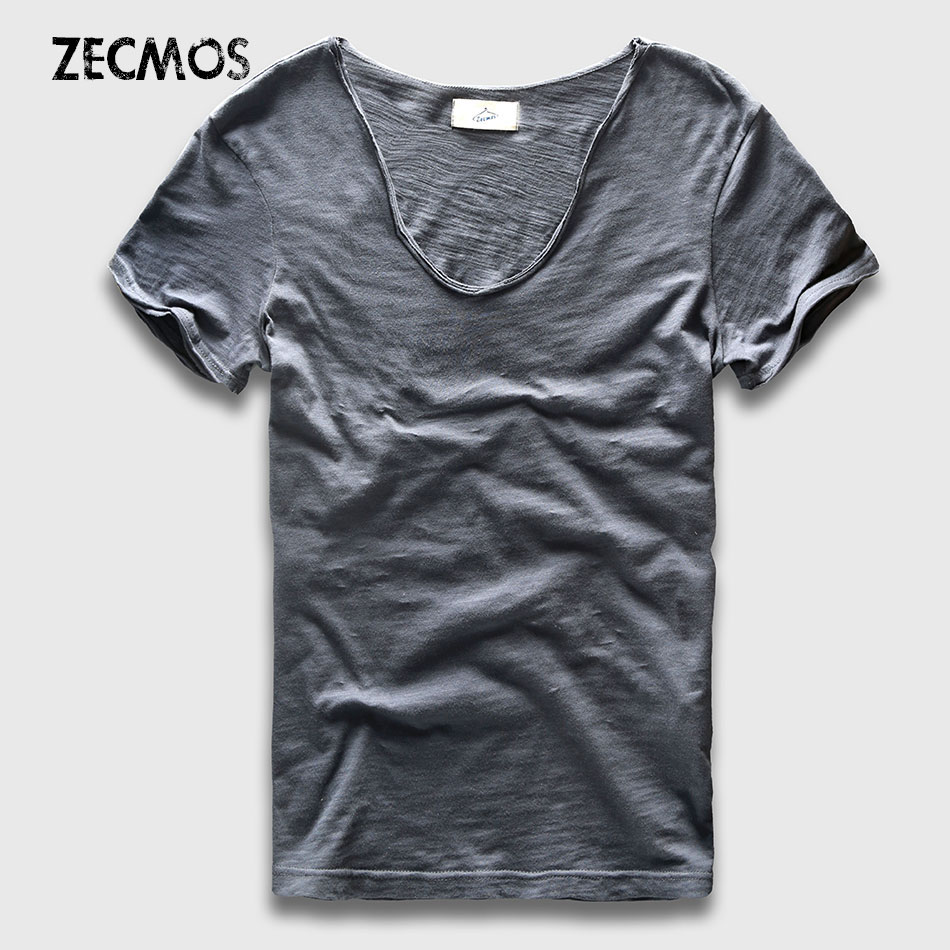 Men Basic T-Shirt Solid Cotton V Neck Slim Fit Male Fashion T Shirts Short Sleeve Top Tees 2017 Brand zecmos men t shirts long sleeve male v neck t shirt for men vneck tee male tshirts slim fit top tees swag wide low neck