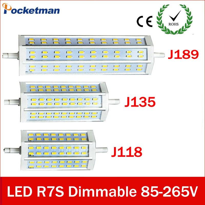 R7S llevó 35W 30W 25W 15W 78mm J78 118mm J118 135mm J135 189mm J189 lámpara Luz de enchufe horizontal LED R7S 5730 proyector halógeno
