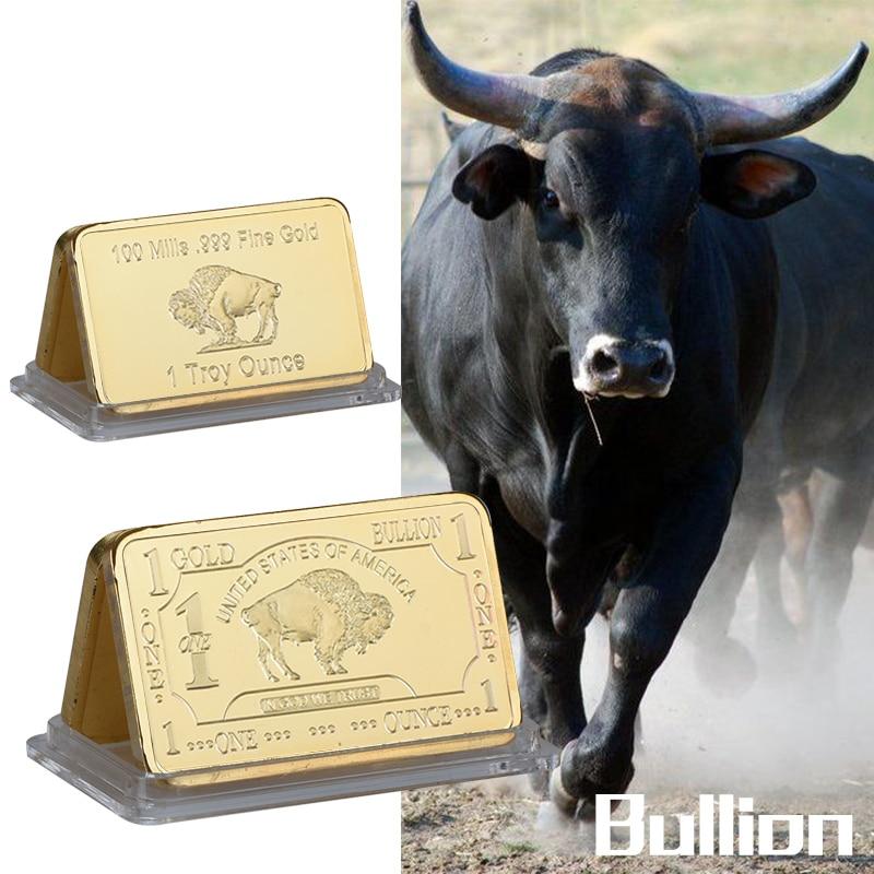 WR 999 Золото, одна Тройная унция, монета, 24k чистое золото, буйвол, слиток с бесплатной капсулой, 5 шт.