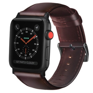 Oil wax genuine leather Bracelet strap For Apple Watchband 4 44/40mm replace for iwatch series 3/2/1 42/38mm band accessories
