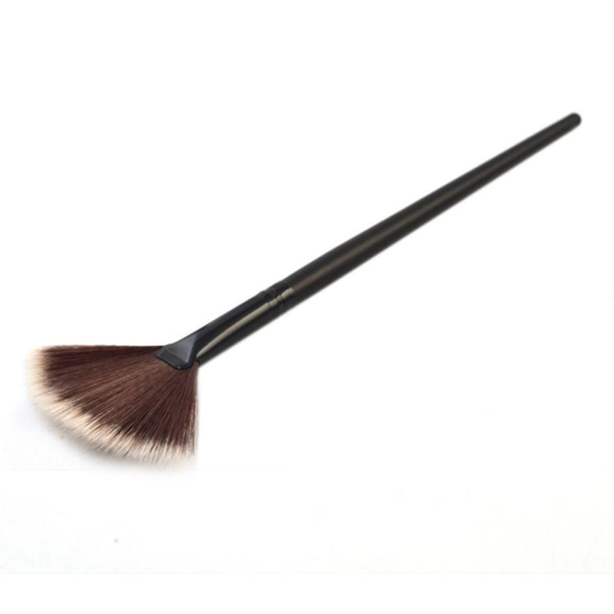 Профессиональный набор кистей для макияжа с натуральным веером для волос, портативная тонкая 1 шт., красота, черный pinceis de maquiagem profissional #7